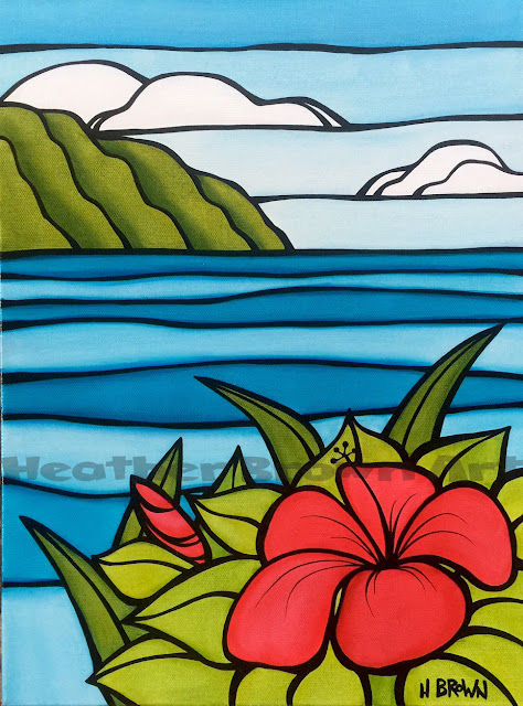 hawaiian art ocean hibiscus