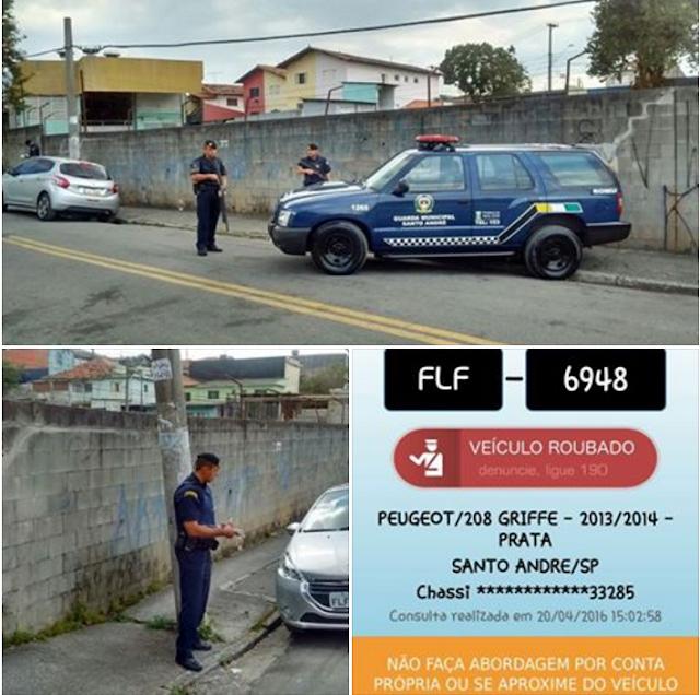 Rondas Ostensivas Municipais de Santo André localiza veículo roubado abandonado na Sacadura Cabral
