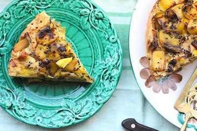 cake aux poireaux polenta et farine d'epeautre