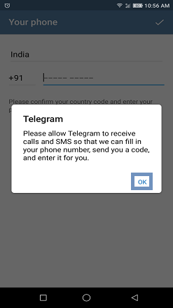 Allow Telegram to receive OTP