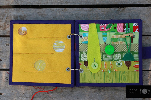 Handmade quiet book by TomToy Rainbow Buckles, Fabric Busy book, Fine motor skills toy