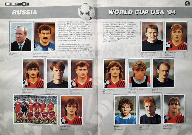 WORLD CUP USA '94 STICKER ALBUM COLLECTION GROUP B RUSSIA