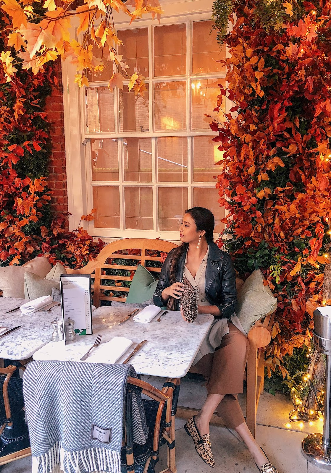 autumn installation dalloway terrace, dalloway terrace london, is dalloway terrace worth a visit, indian blogger, london blog, instagrammable cafes london, london instagram spot
