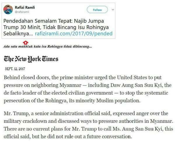 Pertemuan PM Najib & Trump: Sotong Mengatakan Isu Rohingya Tidak Dibincangkan