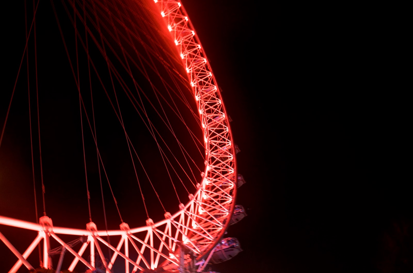 London Eye at night with red lights