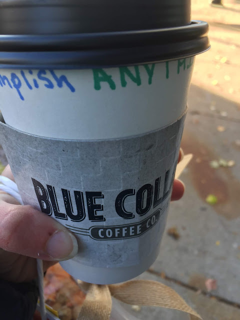 Nice warm up with a mocha latte from Blue Collar Coffee in Beloit, Wisconsin.