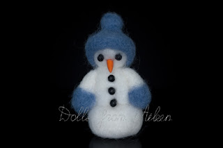 ooak needle felted snowman with carrot nose and coal eyes