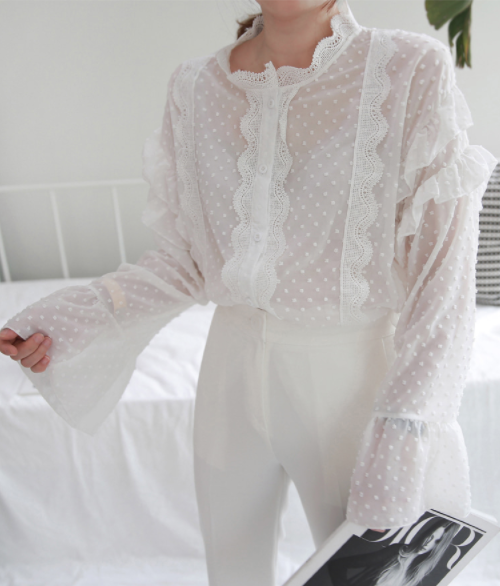 Dotted Lace Trim Blouse