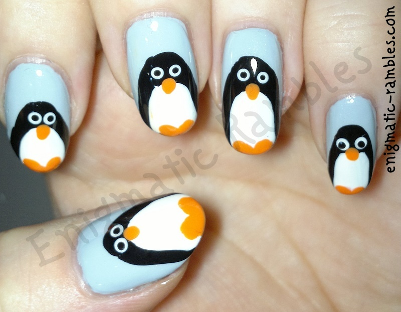 penguin-nails-nail-art-freehand