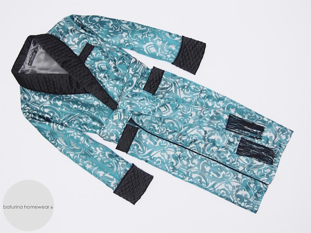 Men's blue paisley silk dressing gown quilted robe extra long