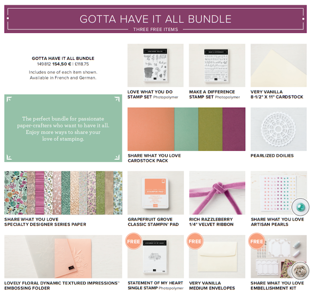 This image shows all the Stampin' Up! products which comprise the Share What You Love 'Gotta Have It All' Bundle.