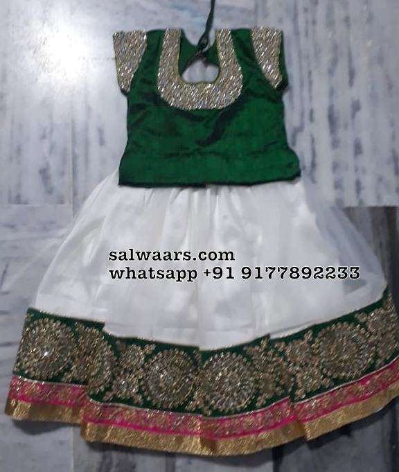 White Green Kids Lehenga