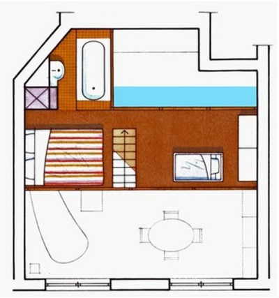 Apartemen Keluarga Seluas 50 meter persegi nan Stylish