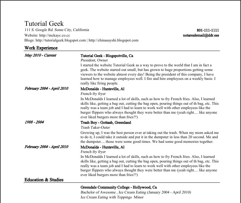 presentable resume template