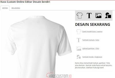Halaman Online Editor KaosCustom.id