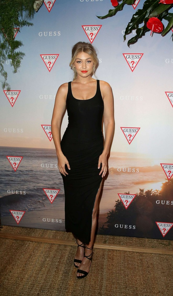 Gigi Hadid sizzles in a figure hugging dress at the Guess Spring 2015 launch in Sydney
