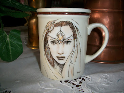 HAND PAINTING, MUG, FANTASY, FAIRY, PORCELLANA