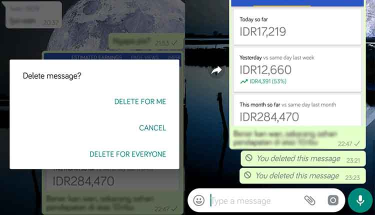 cara menghapus pesan WhatsApp permanen