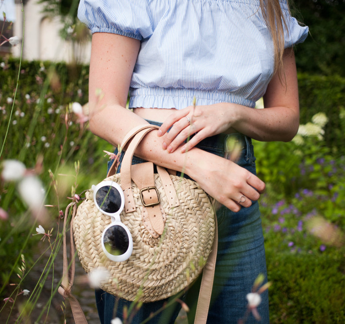 basket bag, round sunglasses, high waisted denim