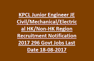 KPCL Junior Engineer JE Civil, Mechanical, Electrical HK, Non-HK Region Recruitment Notification 2017 296 Govt Jobs Last Date 18-08-2017