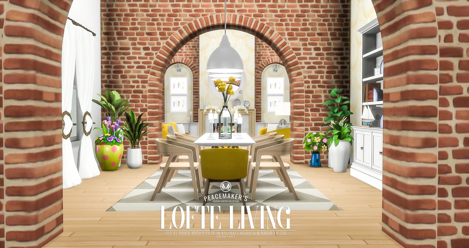 Simsational designs lofte living brick arch decor set for Archway decoration
