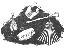 One of the illustrations by van Dongen, accompanying the original publication of Operation Haystack by Frank Herbert in Astounding Science Fiction. Image shows the various clues that will help the detective pinpoint the origins of the secret society.