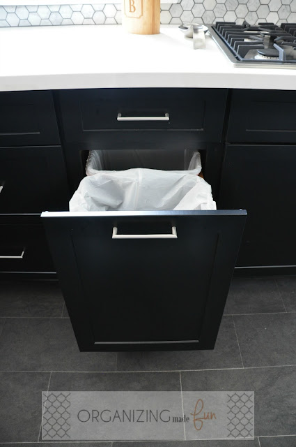 Pull out double trash can drawer :: OrganizingMadeFun.com