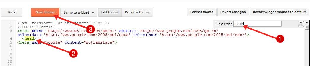 add meta code in blog for google search results hide translate