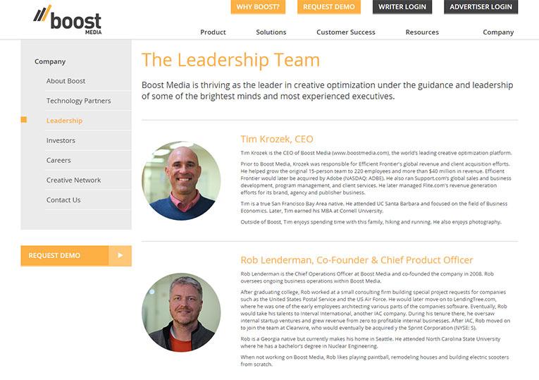 Boost media staff bio page