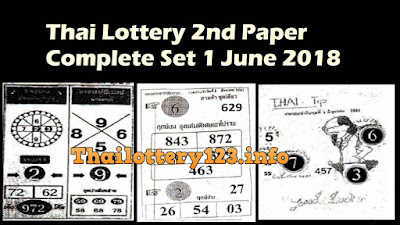 Thai Lottery 2nd Second Paper Complete Set 1 June 2018