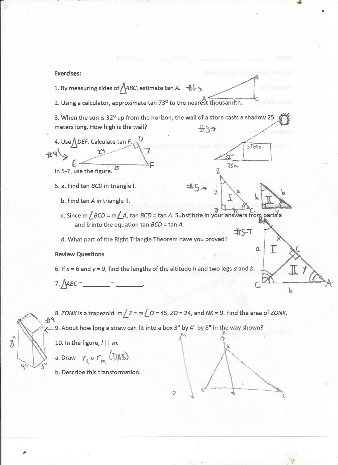 Geometry Common Core Style Lesson 14 3 The Tangent
