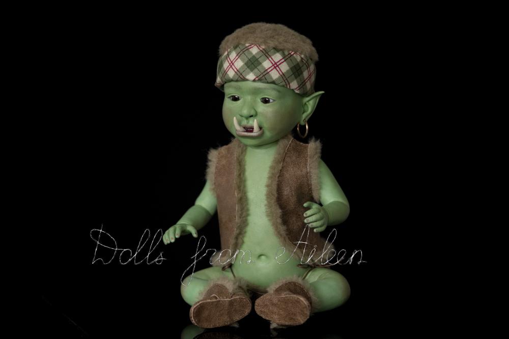 ooak artist baby orc doll