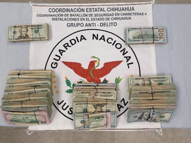 GUARDIA NACIONAL DETIENE A CINCO PERSONAS CON MÁS DE 55 MIL DÓLARES AMERICANOS SIN COMPROBAR