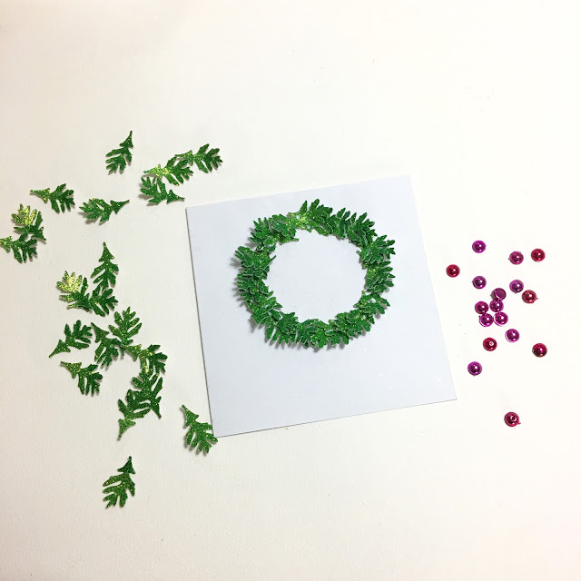Glitter Wreath Christmas Card by Angela Tombari for The Robin's Nest