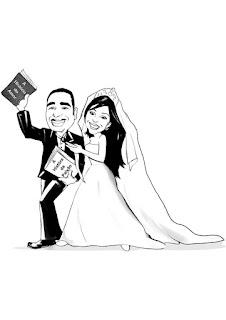 caricatura contorno de noivos