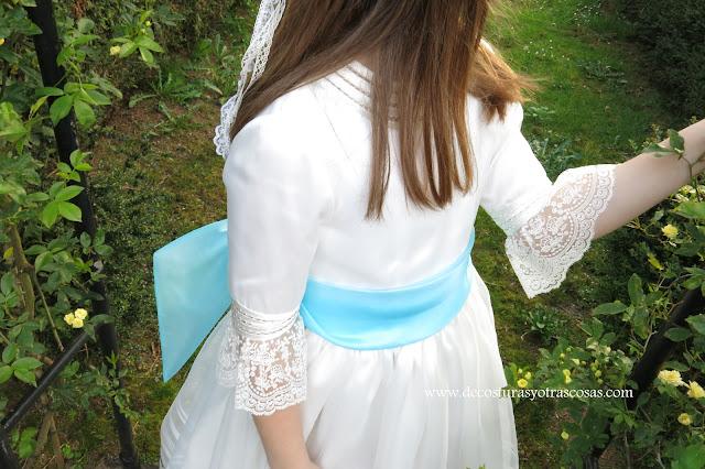 vestido de organza y satén para niña 1º comunión