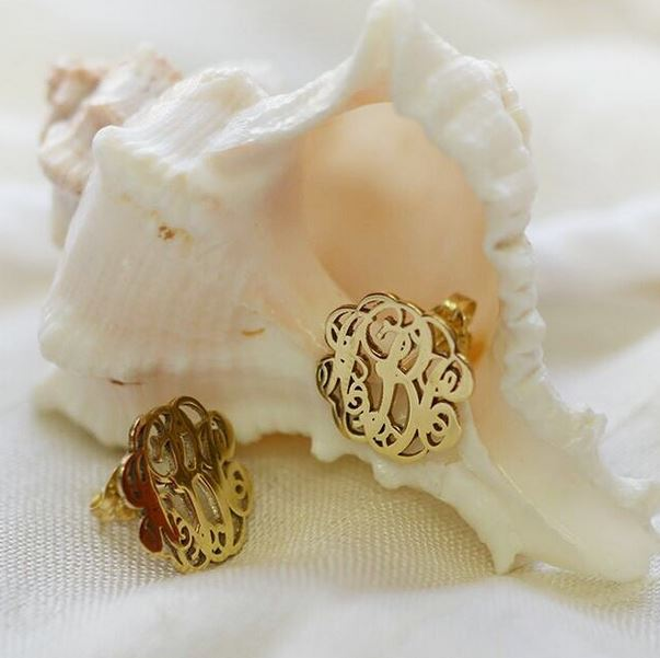 Monogram Stud Earrings in 14k Gold - Check them Out!