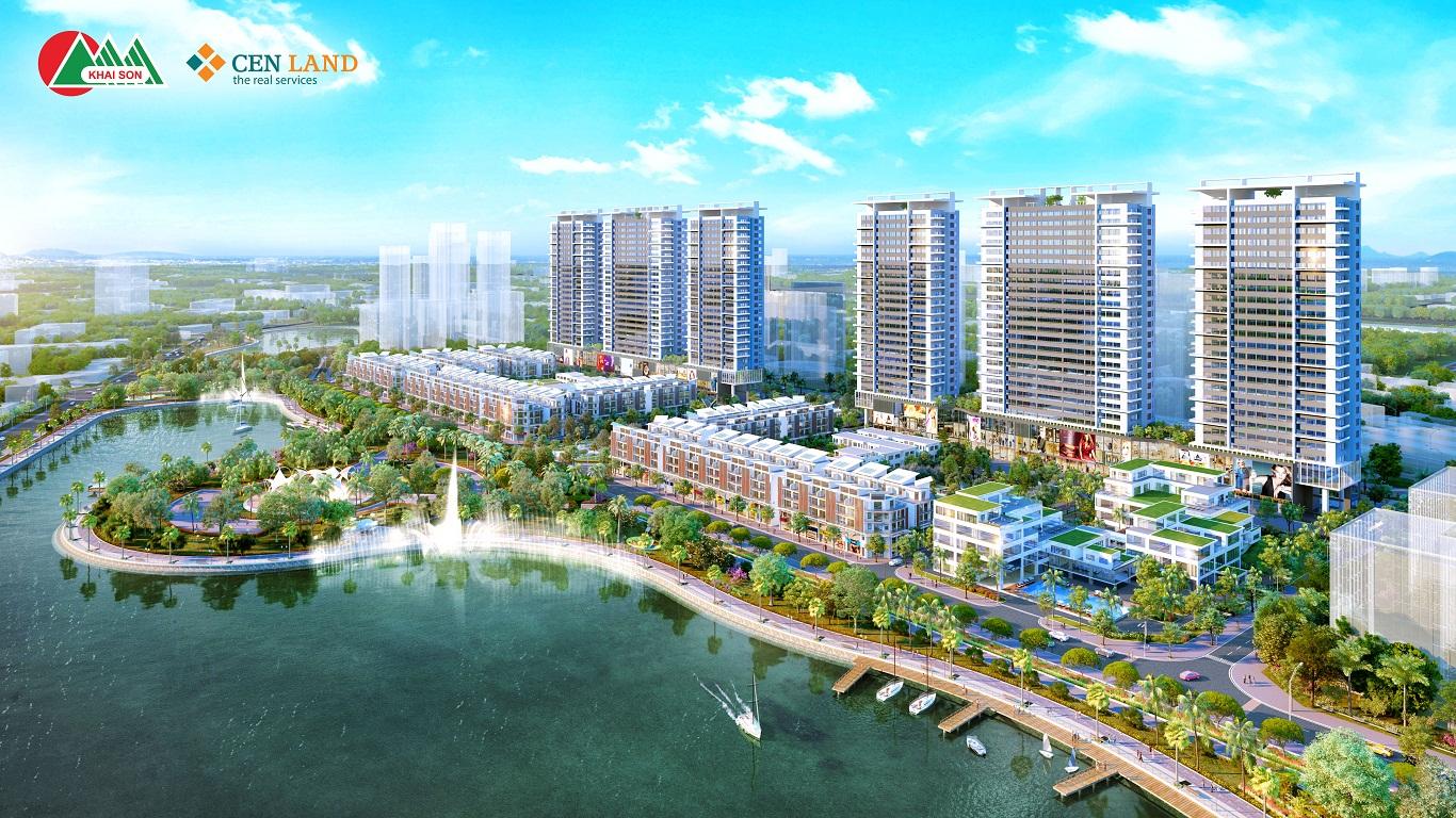 Khai Sơn City bên hồ điều hòa