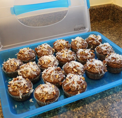 Food Lust People Love: Rich, chocolately muffins with pecans, coconut, hazelnut spread and chocolate chips, these Coconut Pecan Brownie Muffins as gorgeous as they are delicious.