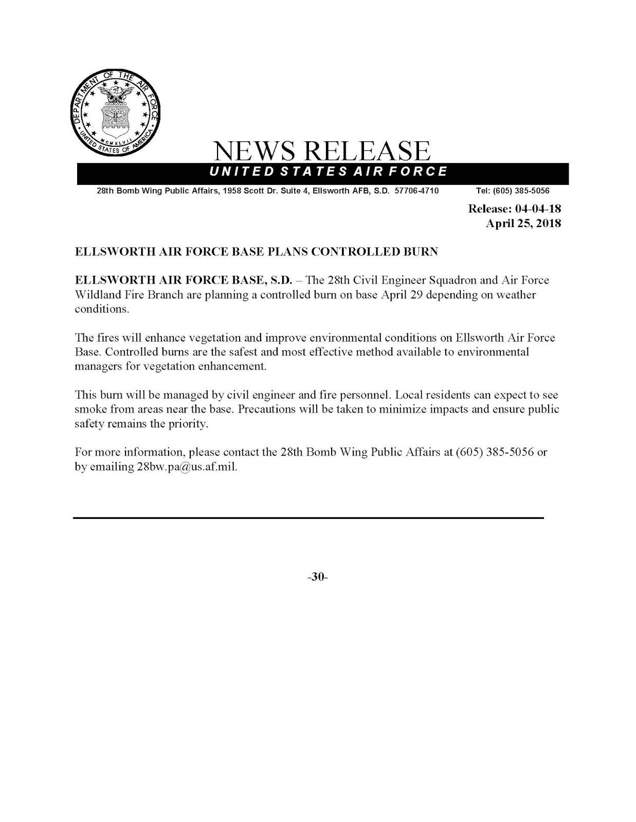 ellsworth air force base plans prescribed fire