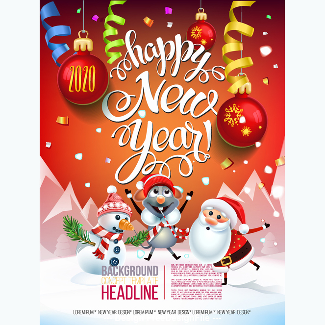 Merry christmas cartoon greeting card free vector