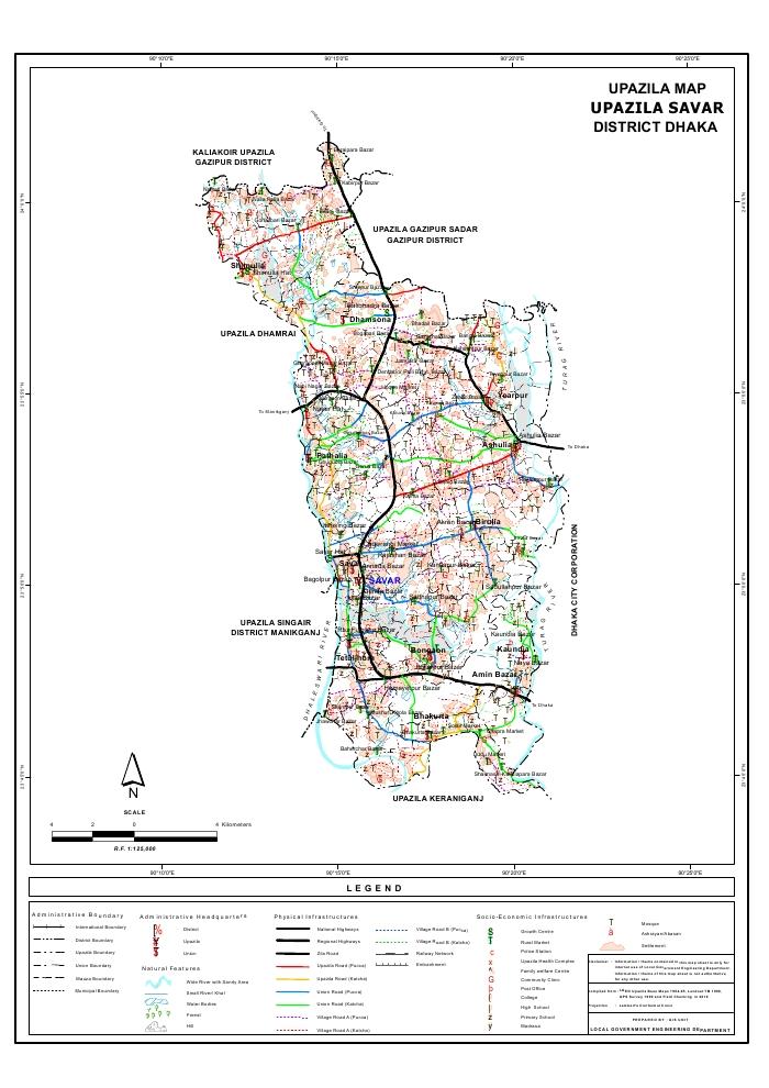 Savar Upazila Map Dhaka District Bangladesh