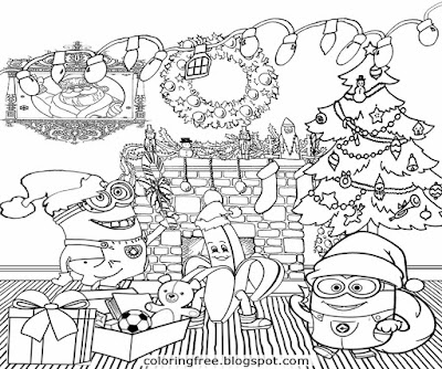 Easy art funny minions party time lovely tree happy Christmas minion coloring pages for young adults