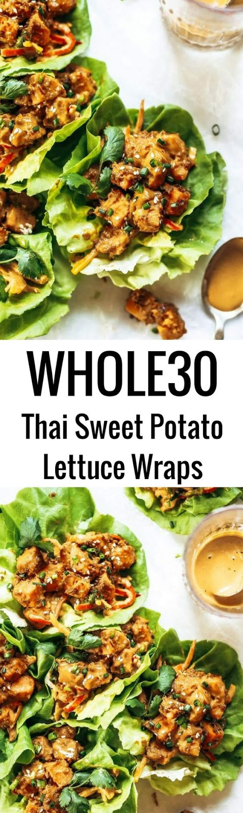 Whole30 Lunch Thaí Sweet Potato Lettuce Wraps