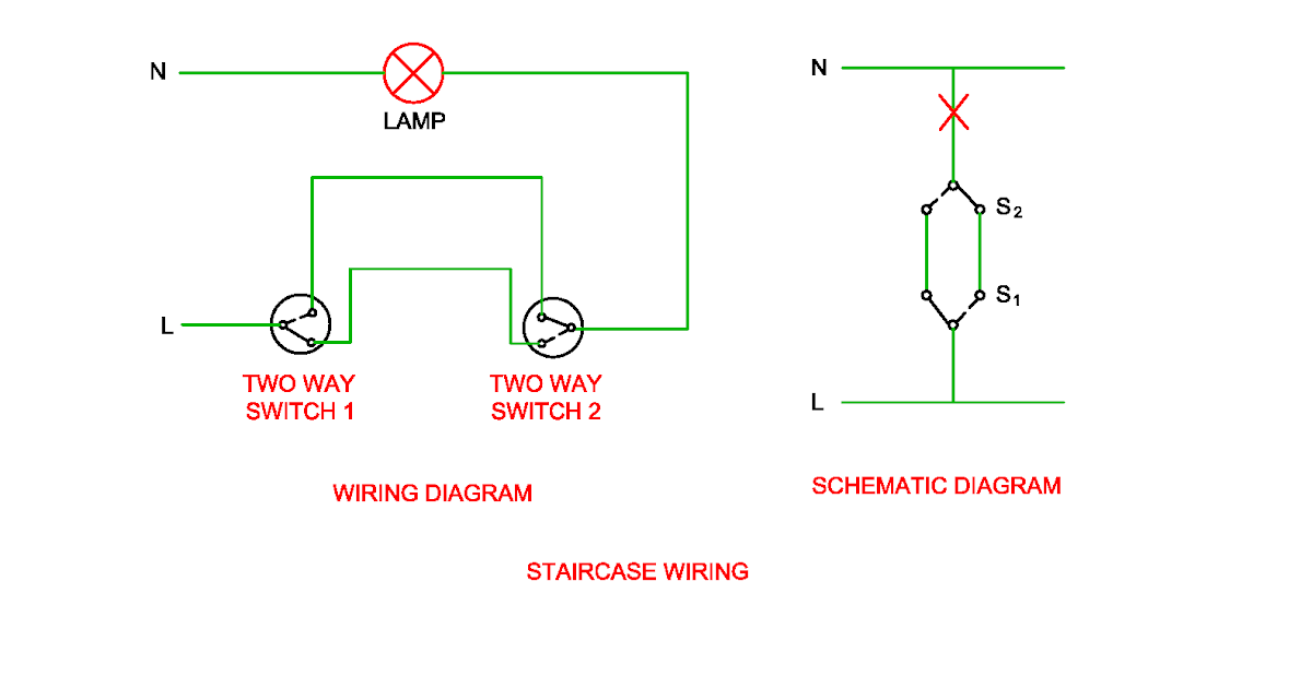 Schematic And Wiring Diagram Of Stair Case Wiring