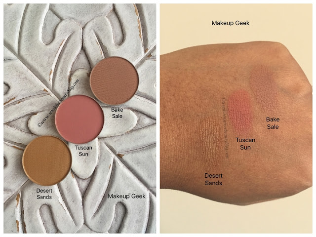 Makeup Geek Eyeshadow swatches (desert sands, tuscan sun, bake sale)