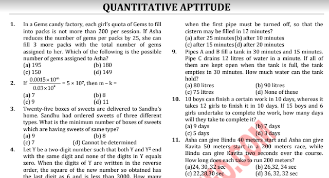 SSC CGL Quantitative Aptitude Problems & Solutions pdf download