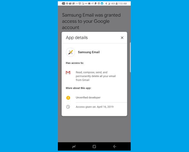 سامسونج يوضح الذعر بسبب رسالة حمل البريد الإلكتروني جوجل