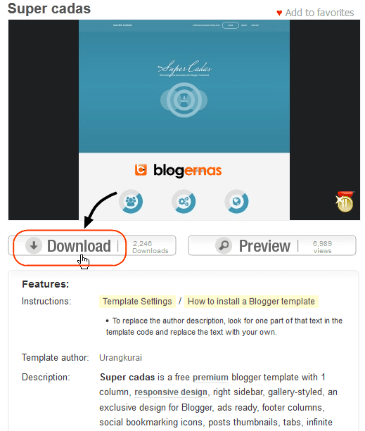 Cara Mendownload Template Blog Full Gambar