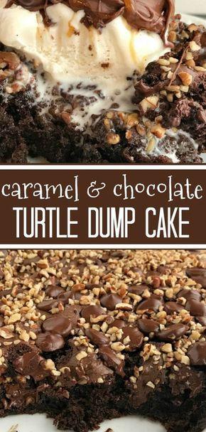 Caramel & Chocolate Turtle Dump Cake